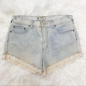 Free People Railroad Stripe Lace Shorts